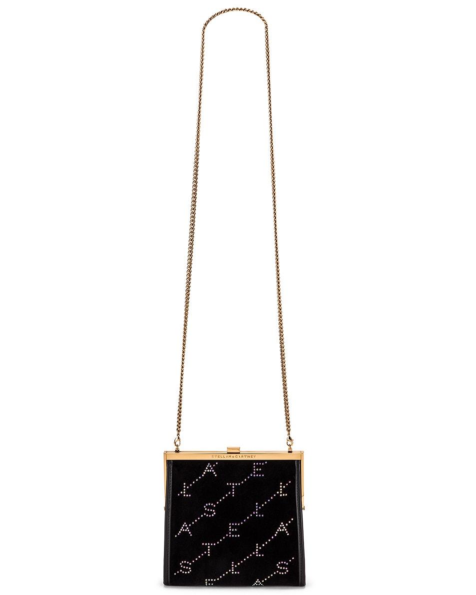 Image 6 of Stella McCartney Mini Frame Monogram Velvet Crystal Bag in Black