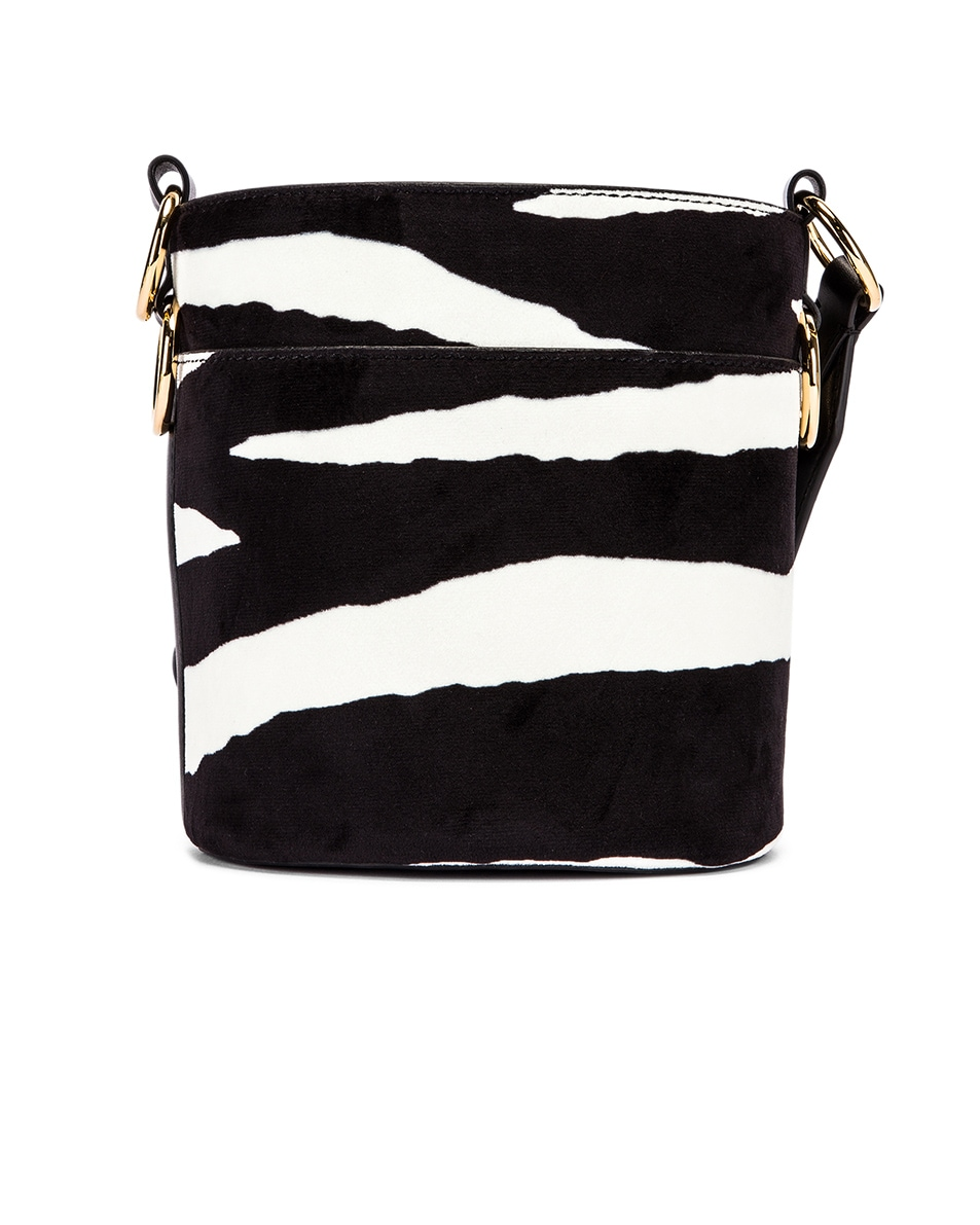 Image 3 of Stella McCartney Small Zebra Bucket Bag in Ivory & Brown