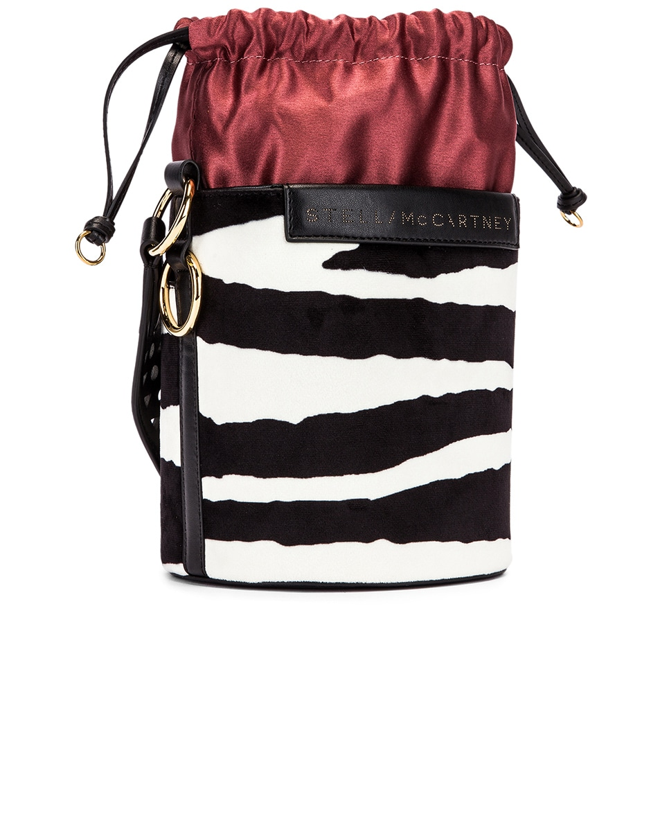Image 4 of Stella McCartney Small Zebra Bucket Bag in Ivory & Brown