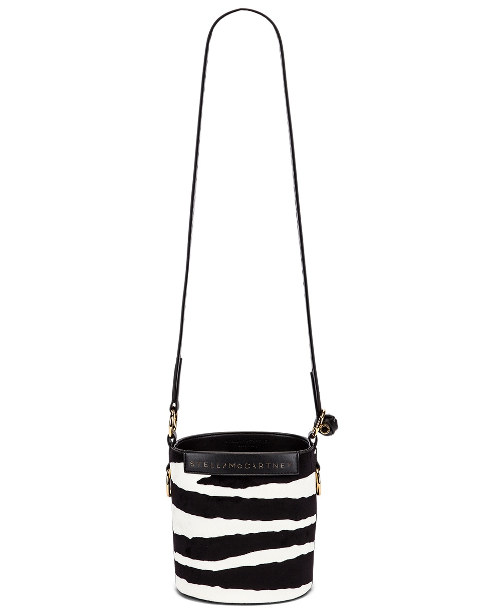 Image 6 of Stella McCartney Small Zebra Bucket Bag in Ivory & Brown