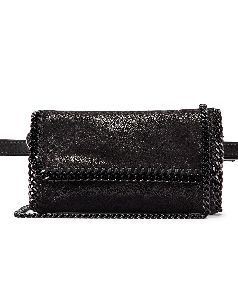 Image 1 of Stella McCartney Falabella Flap Chain Belt Bag in Black