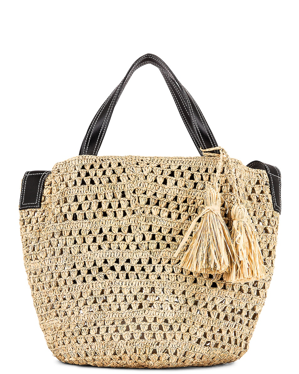 Image 1 of Stella McCartney Ajouree Raffia Bucket Bag in Light Sand