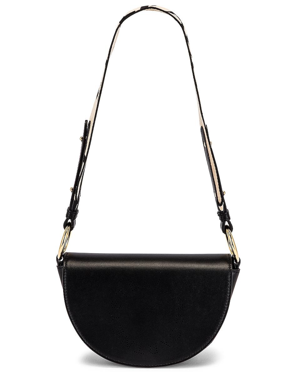 Stella Mccartney Mini Eco Soft Leather Flap Shoulder Bag In Black
