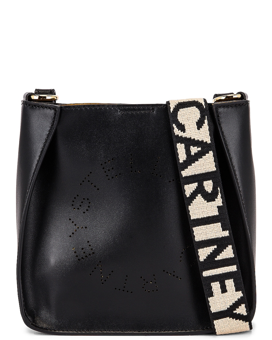 Image 1 of Stella McCartney Small Leather Hobo Bag in Black