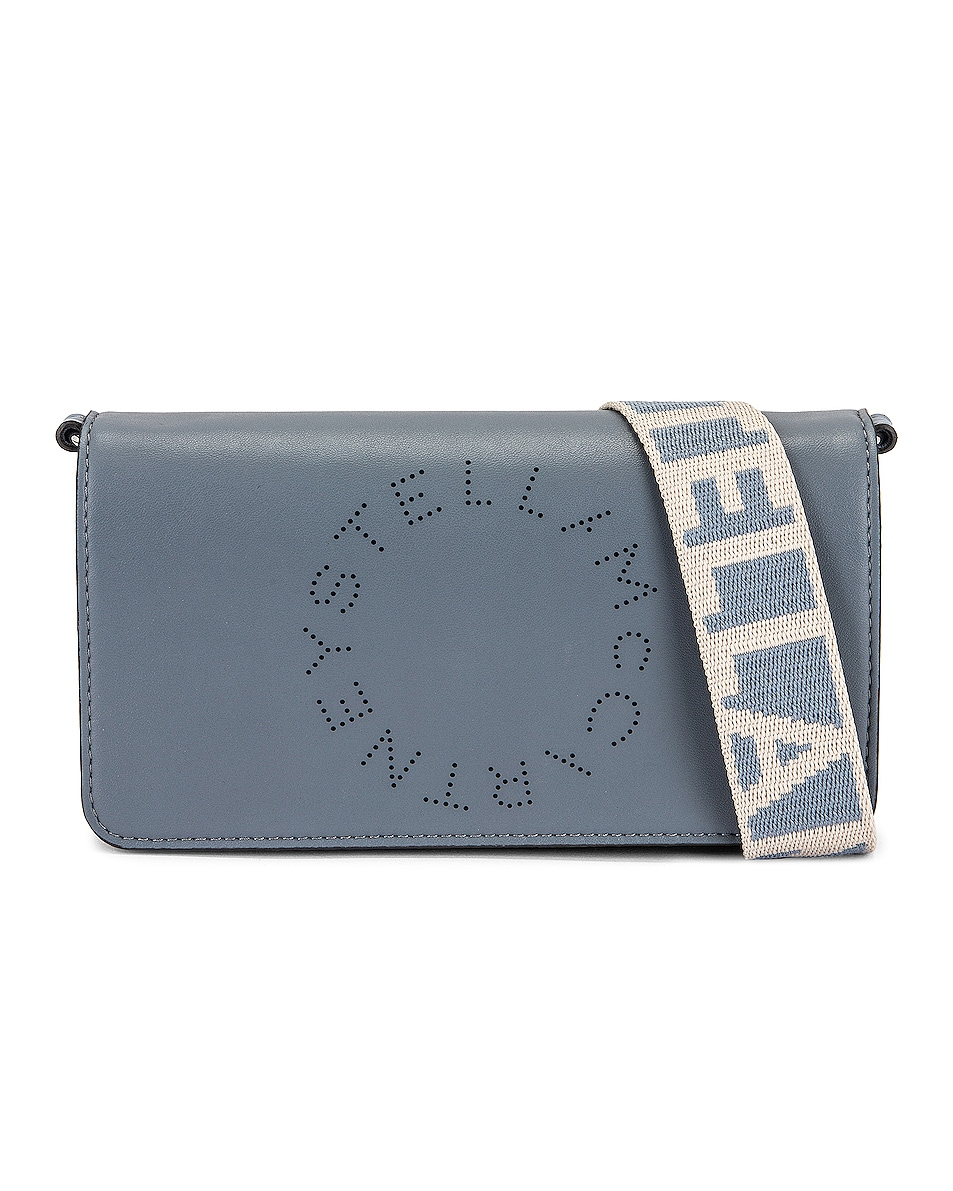 Image 1 of Stella McCartney Eco Soft Logo Wallet on Strap Bag in Cameo Blue