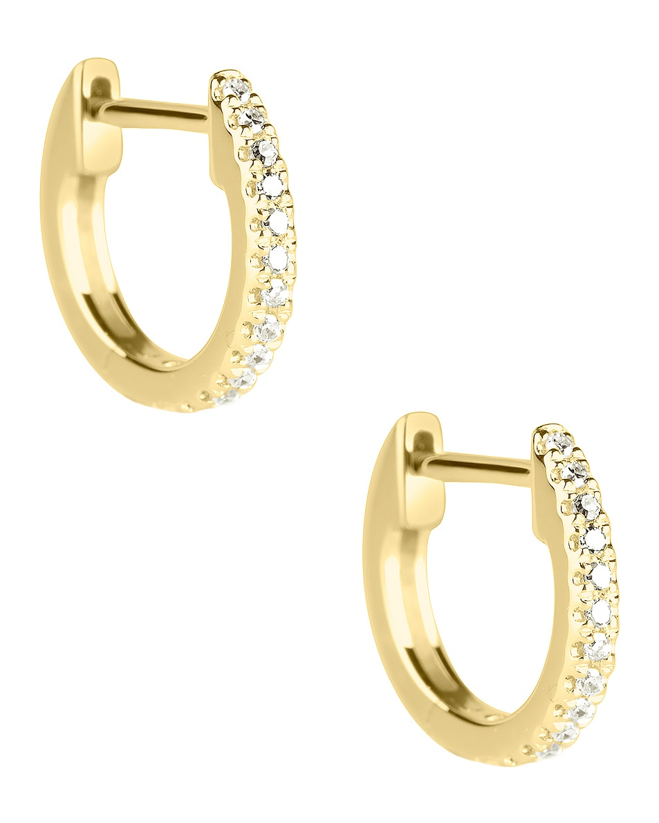 Image 1 of STONE AND STRAND White Diamond Pave Huggie Earrings in Gold & Diamond