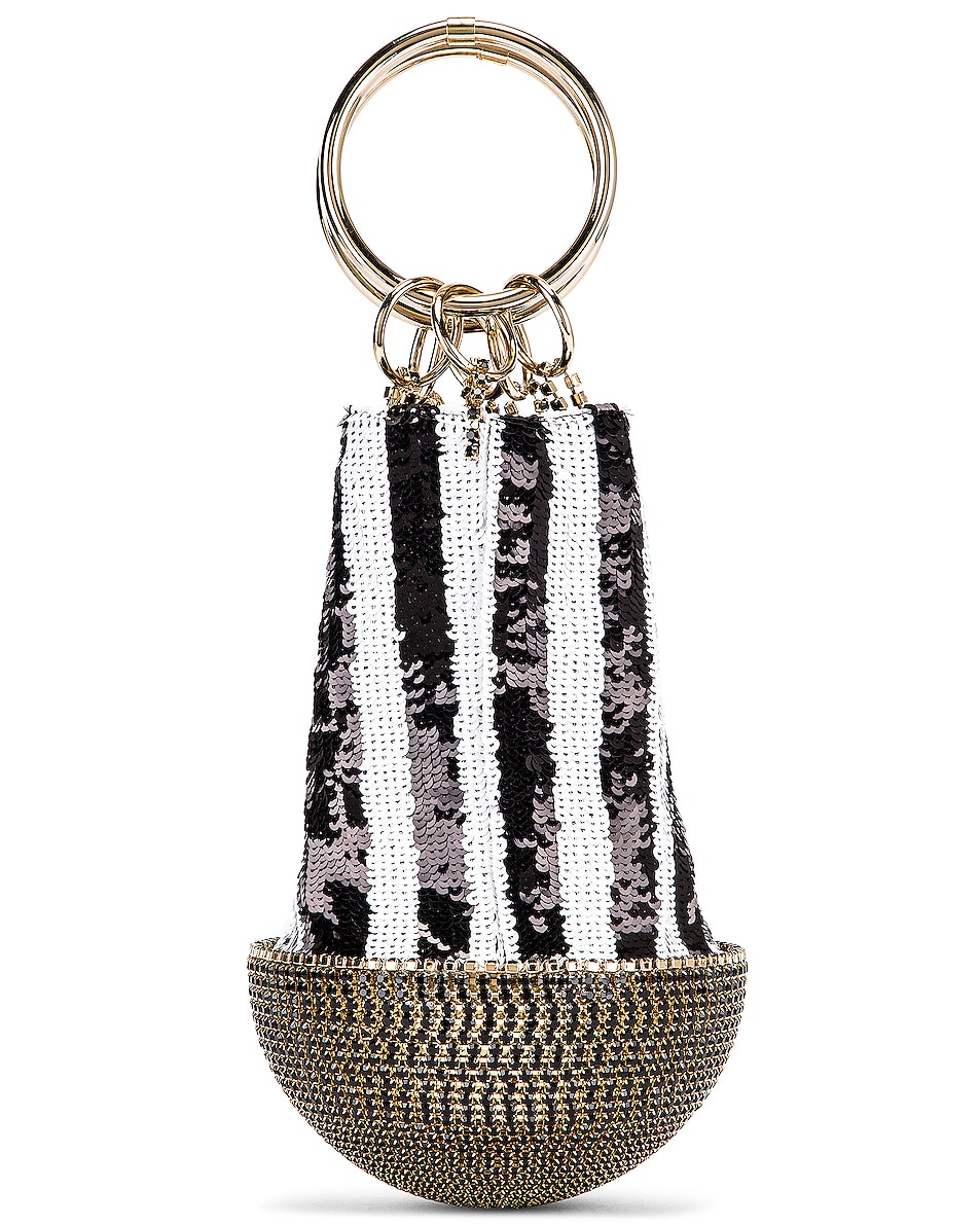 Image 3 of SILVIA TCHERASSI x Rosantica Atacama Bag in Black & White Sequin Stripes