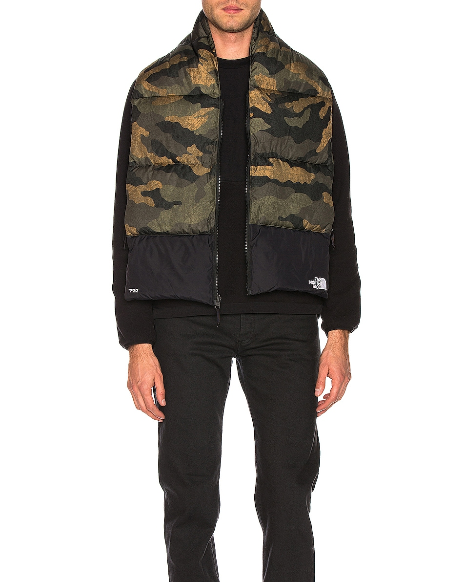 Image 2 of The North Face Nuptse Scarf in Burnt Olive Green Waxed Camo Print