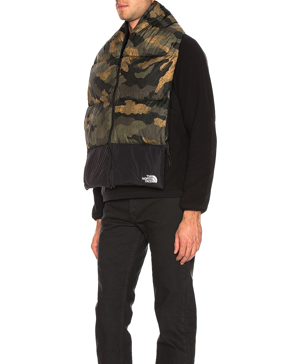 Image 5 of The North Face Nuptse Scarf in Burnt Olive Green Waxed Camo Print