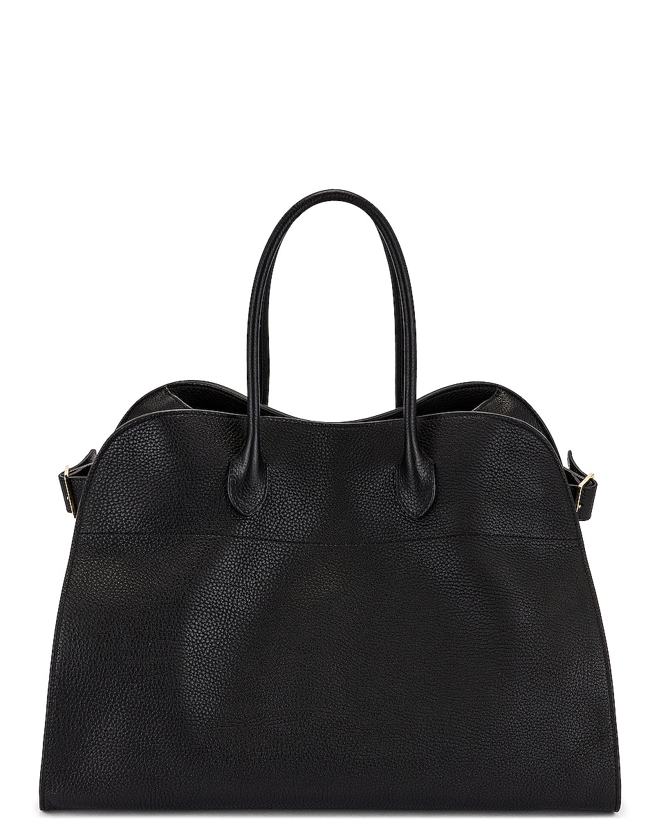 Image 1 of The Row Soft Margaux 17 Grain Leather Tote in Black