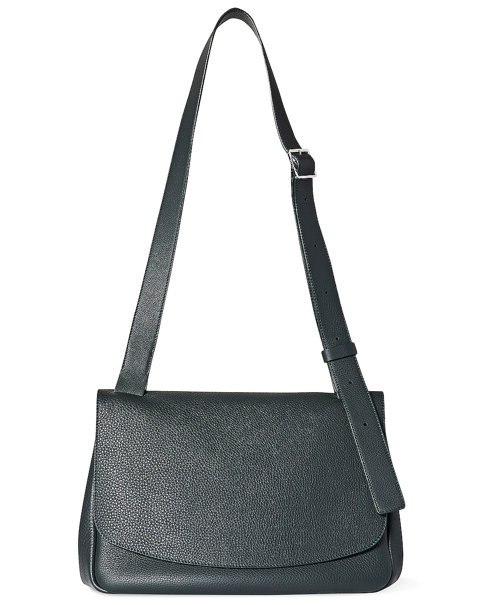 Image 1 of The Row Small Mail Leather Bag in Bottle Green