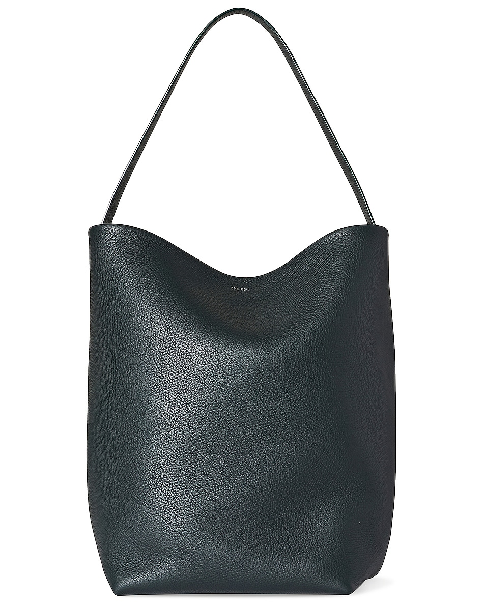 Image 1 of The Row N/S Park Grain Leather Tote in Bottle Green