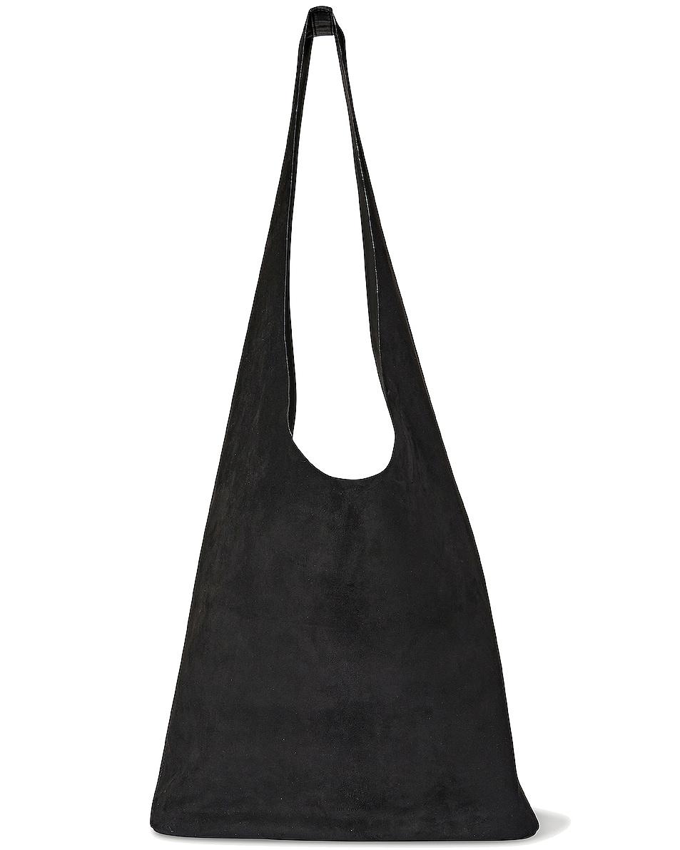 Image 1 of The Row Bindle Three Suede Bucket Hobo in Black