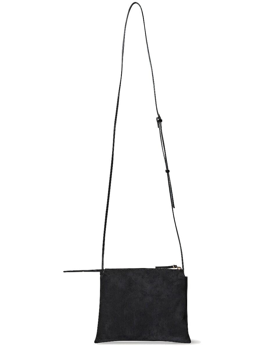 Image 1 of The Row Nu Mini Twin Suede Crossbody Bag in Black