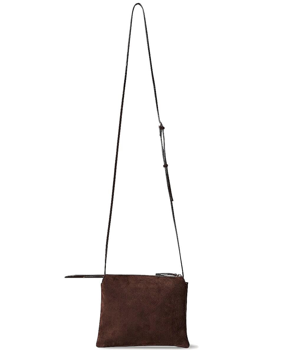 Image 1 of The Row Nu Mini Twin Suede Crossbody Bag in Mocha