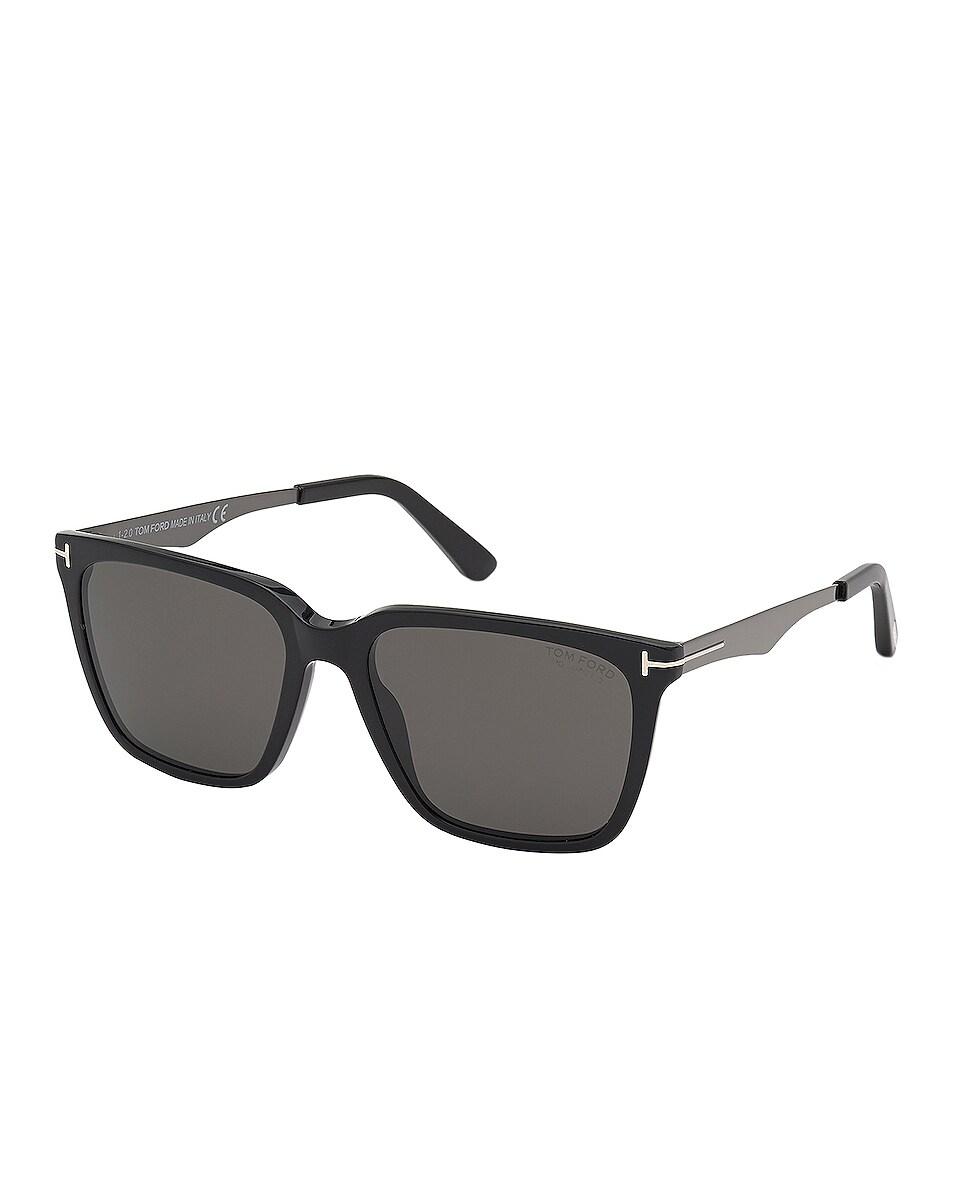 Image 1 of TOM FORD Garrett Sunglasses in Shiny Black & Gradient Smoke Lens