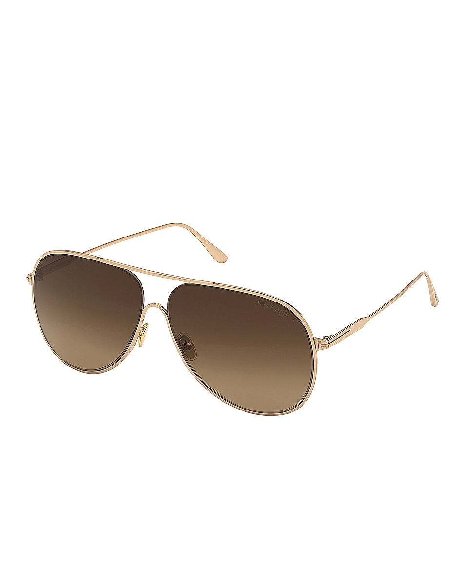Image 1 of TOM FORD Alec Sunglasses in Shiny Rose Gold & Gradient Brown Lens