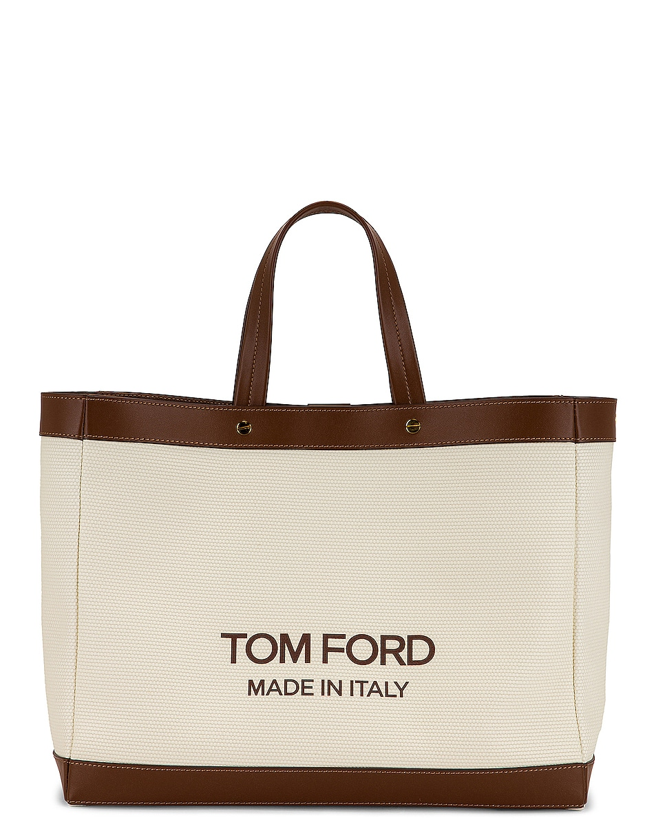 Image 1 of TOM FORD T Screw Small Shopping Shopping Bag in Off White & Cuoio
