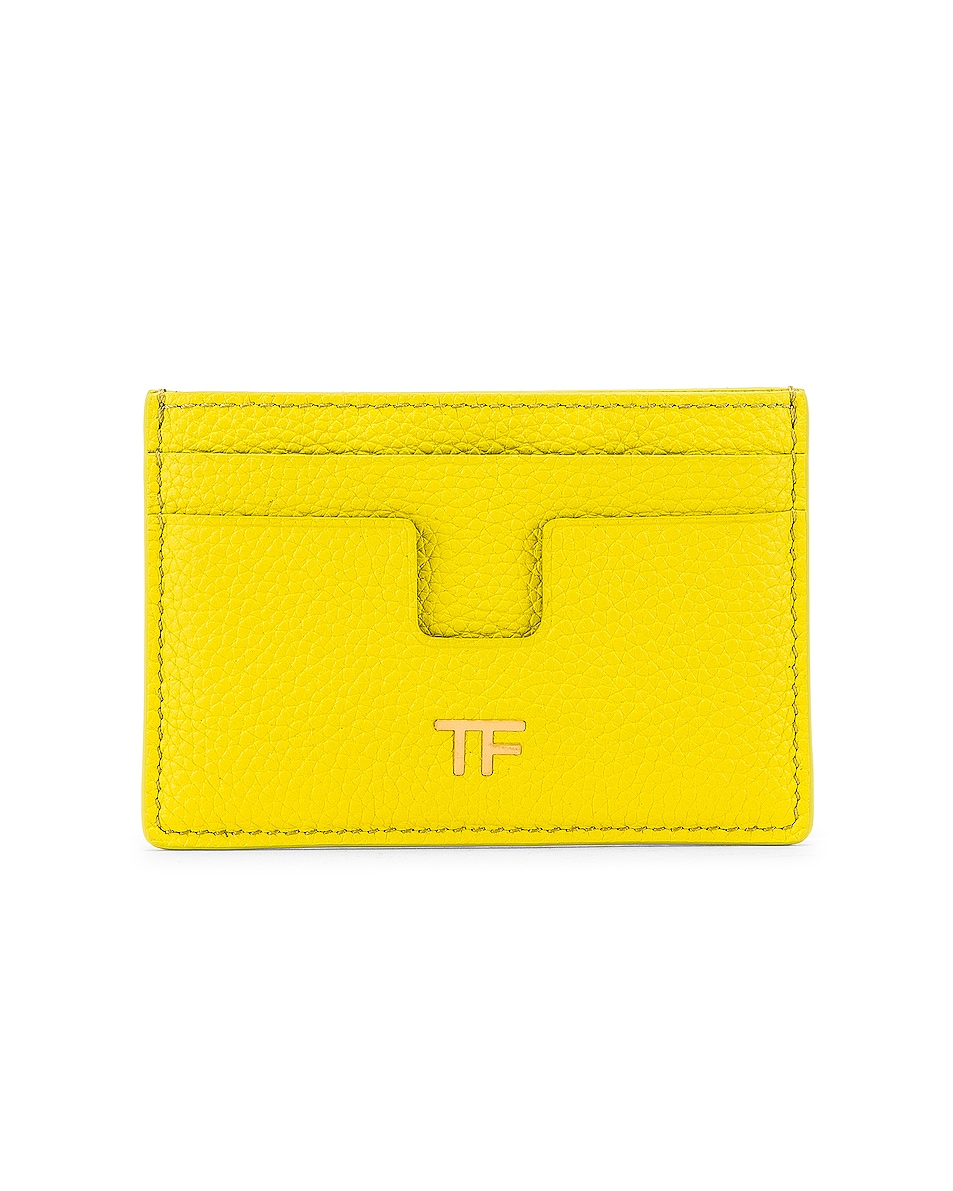 Image 1 of TOM FORD Classic TF Card Holder in Acid Yellow