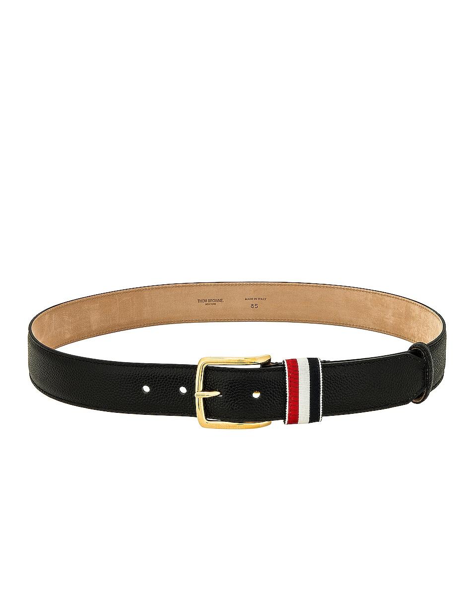 Image 1 of Thom Browne Pebble Grain Leather Belt in Black