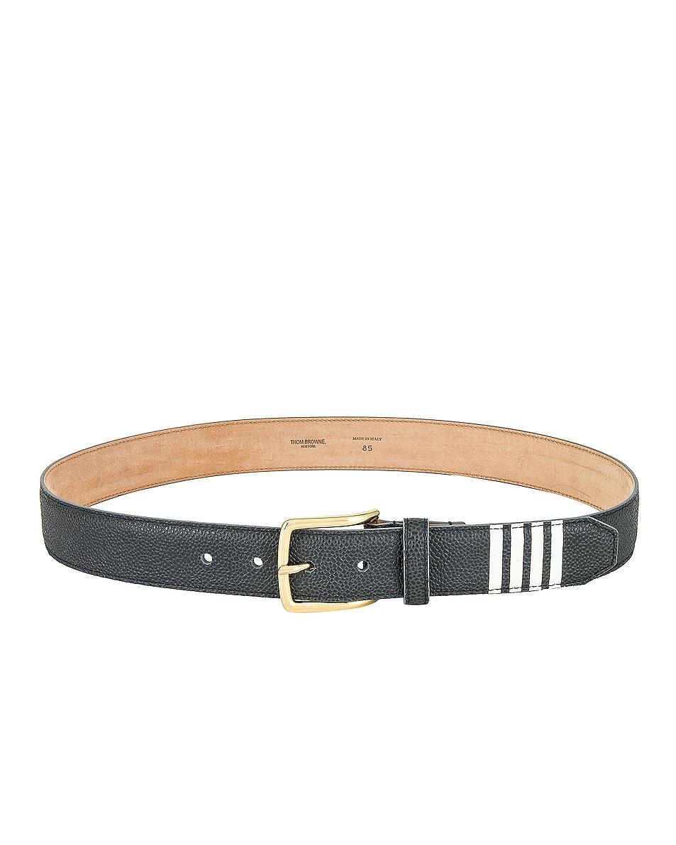 Image 1 of Thom Browne Classic Belt with 4 Bar Stripe in Dark Grey