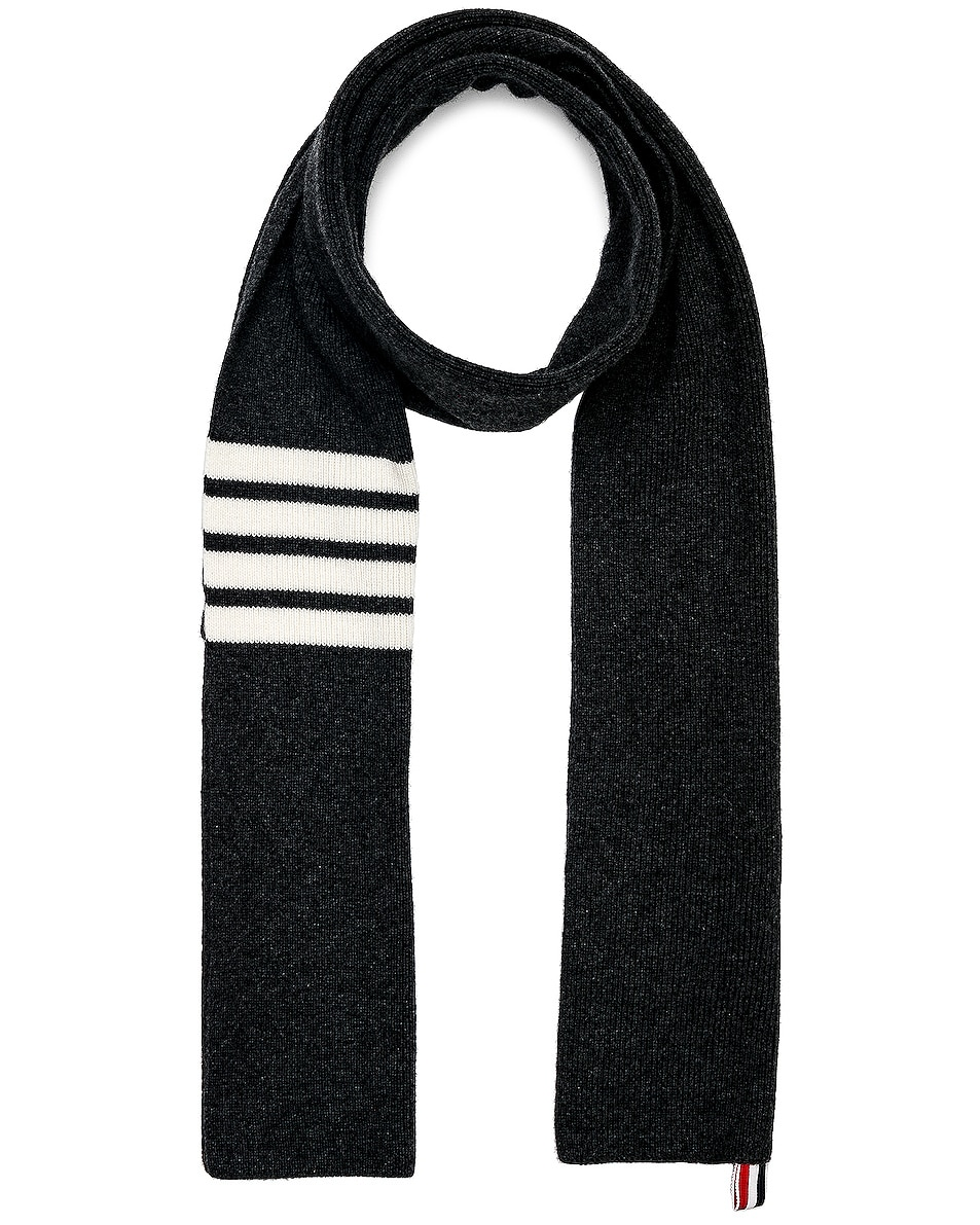 Image 1 of Thom Browne Cashmere 4 Bar Scarf in Dark Grey