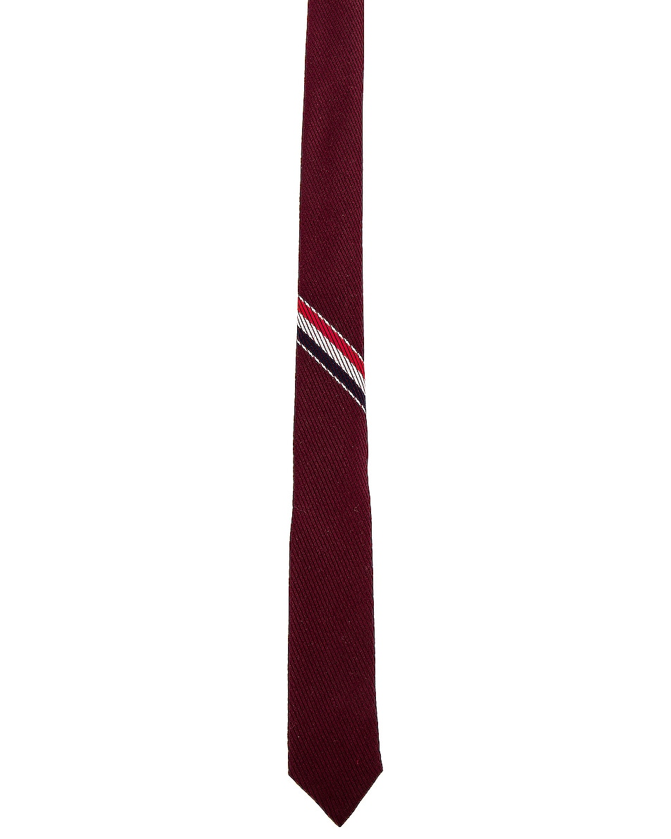 Image 2 of Thom Browne Classic School Uniform Necktie in Burgundy