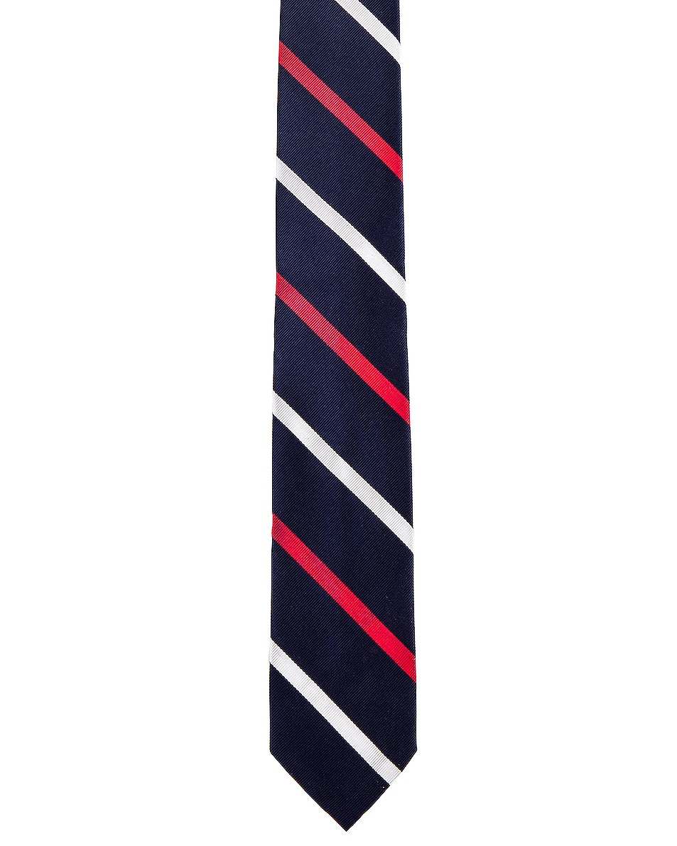 Image 1 of Thom Browne Classic Banker Stripe Necktie in Red & White & Blue