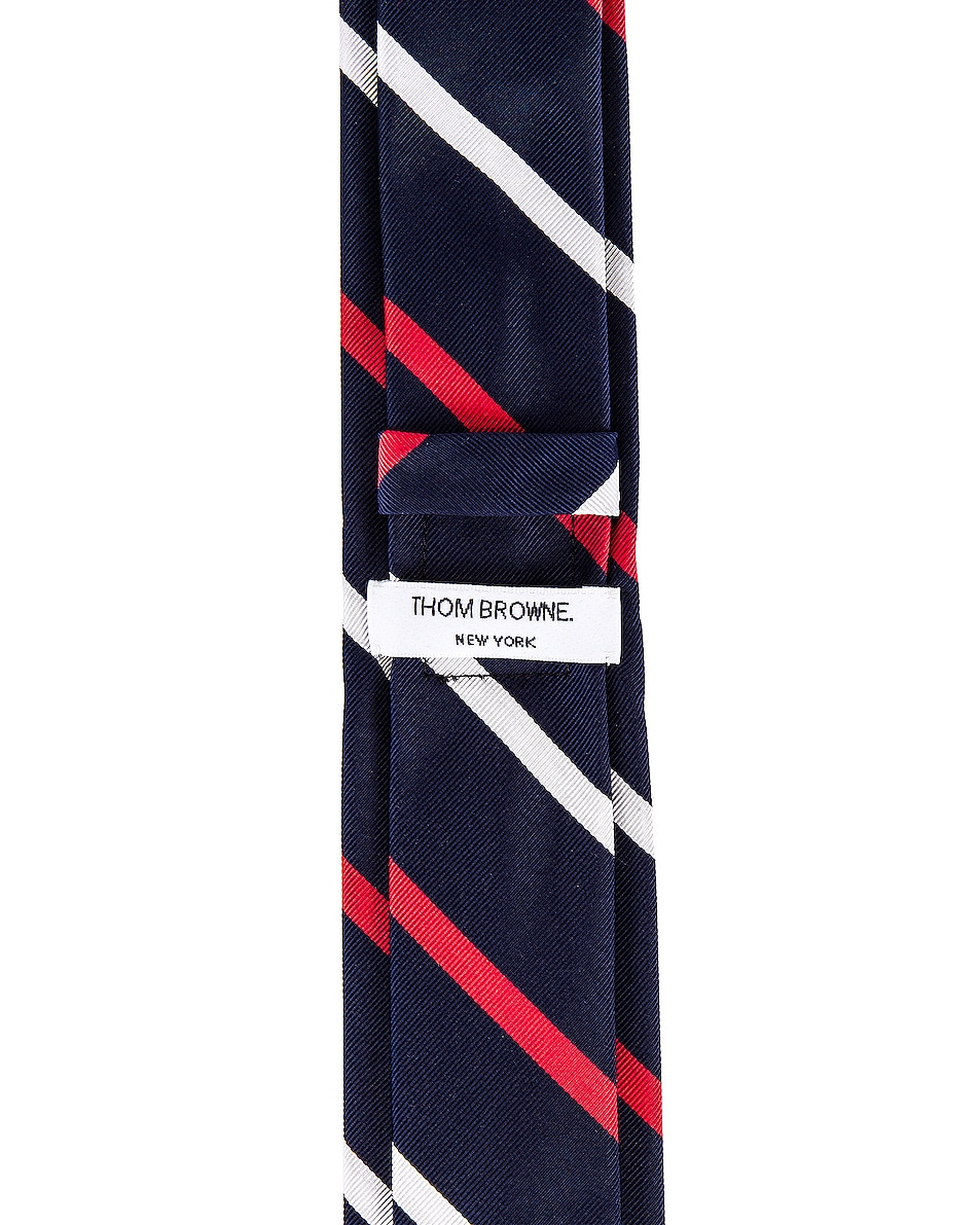 Image 4 of Thom Browne Classic Banker Stripe Necktie in Red & White & Blue
