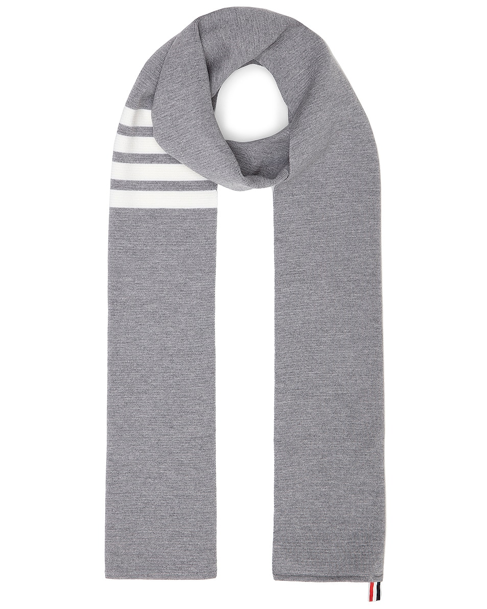 Image 1 of Thom Browne Milano Stitch Scarf in Light Grey
