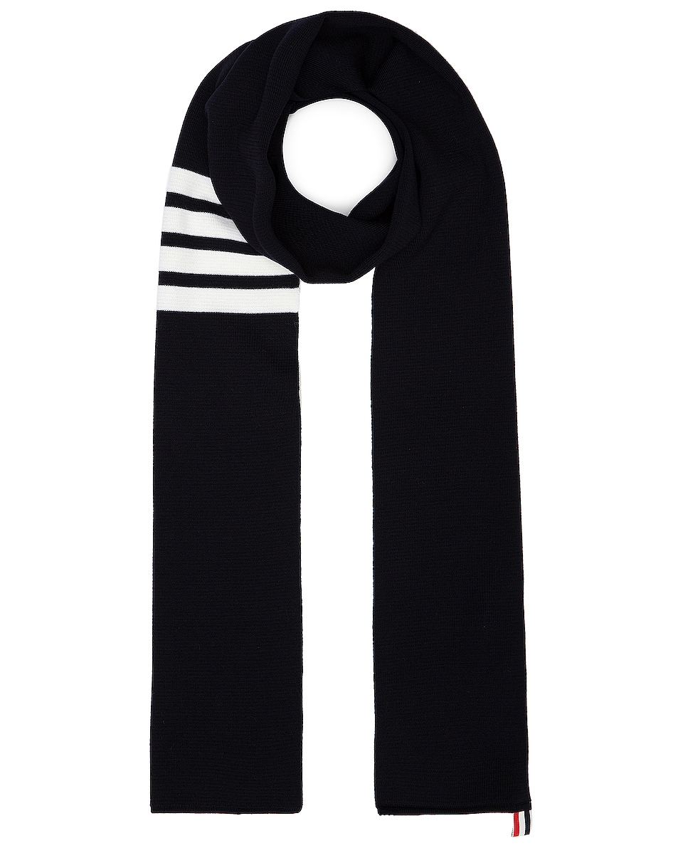 Image 1 of Thom Browne Milano Stitch Scarf in Navy