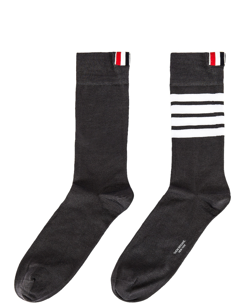 Image 1 of Thom Browne 4 Bar Stripe Mid Calf Socks in Dark Grey