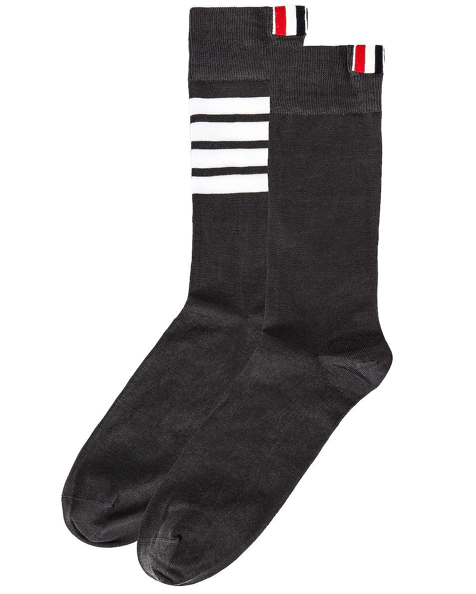 Image 2 of Thom Browne 4 Bar Stripe Mid Calf Socks in Dark Grey