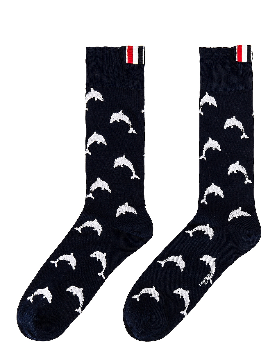 Image 1 of Thom Browne Half Drop Dolphin Icon Intarsia Mid Calf Socks in Navy