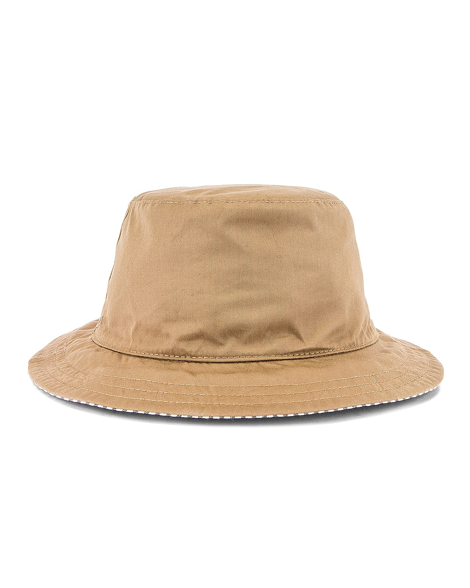 Image 1 of Thom Browne Reversible Classic Bucket Hat in Khaki & Navy
