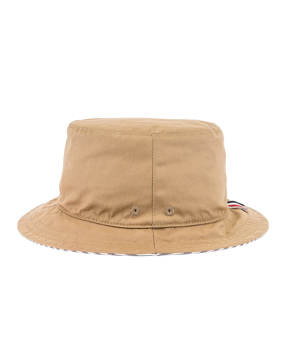 Image 3 of Thom Browne Reversible Classic Bucket Hat in Khaki & Navy