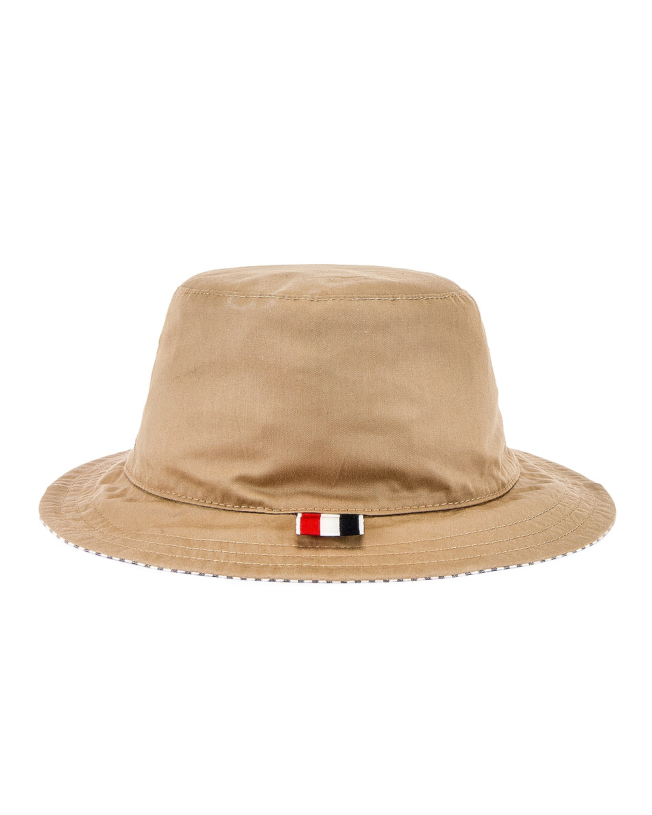 Image 4 of Thom Browne Reversible Classic Bucket Hat in Khaki & Navy