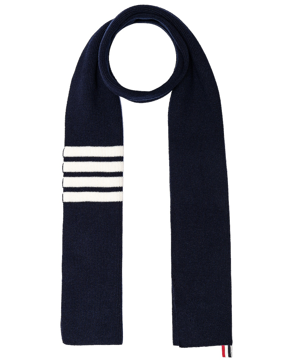 Image 1 of Thom Browne Cashmere Ribbed Bar Stripe Scarf in Navy