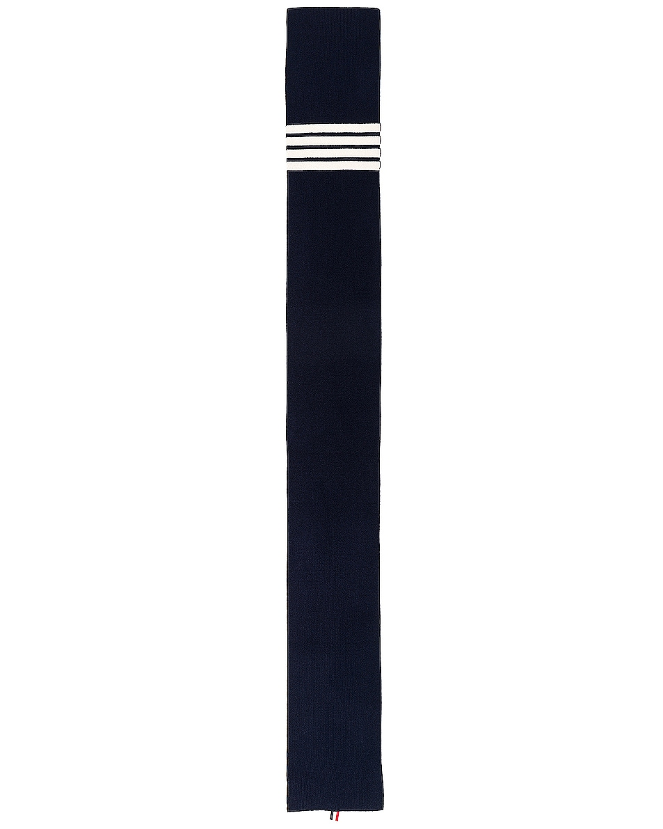 Image 2 of Thom Browne Cashmere Ribbed Bar Stripe Scarf in Navy