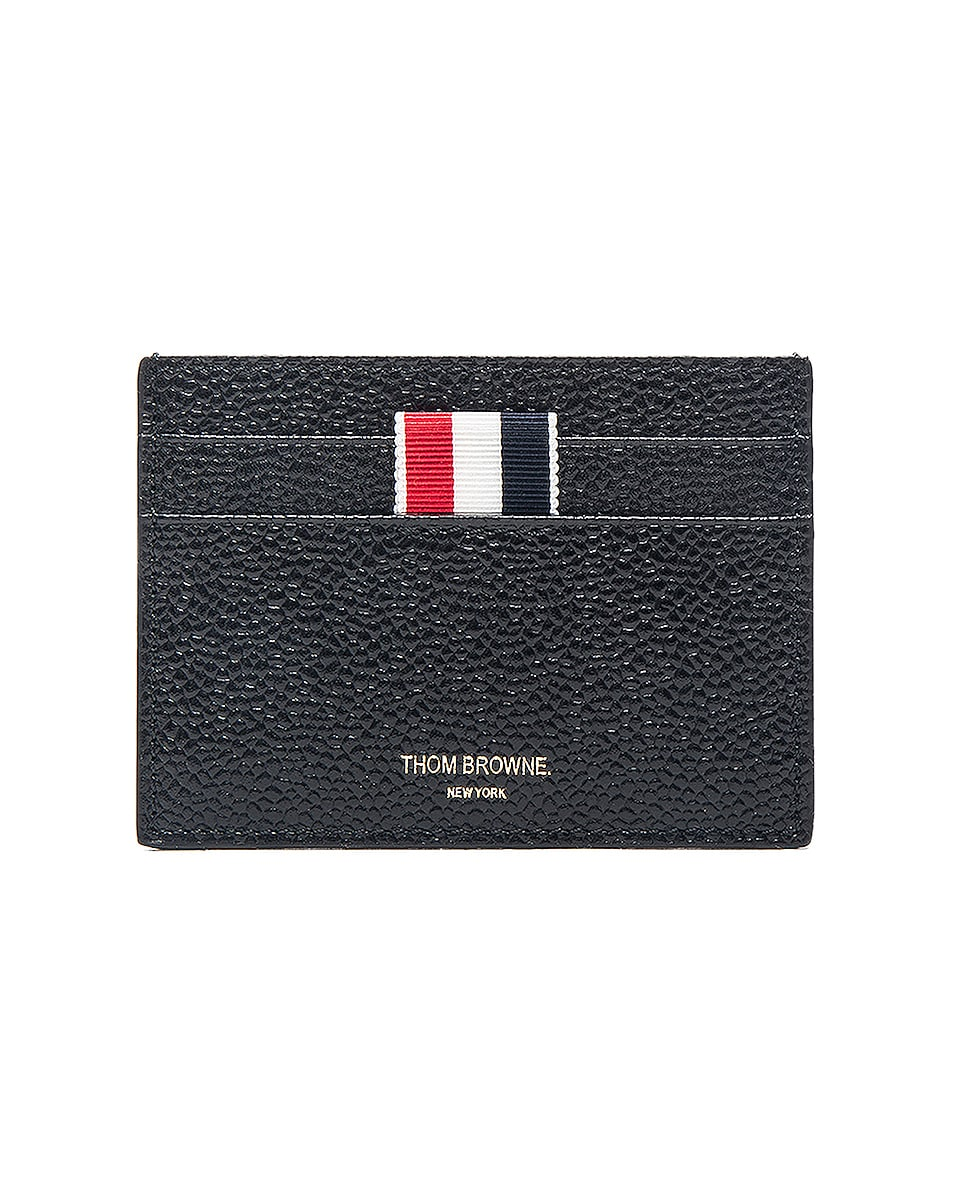 Image 1 of Thom Browne Pebble Grain Single Cardholder in Black