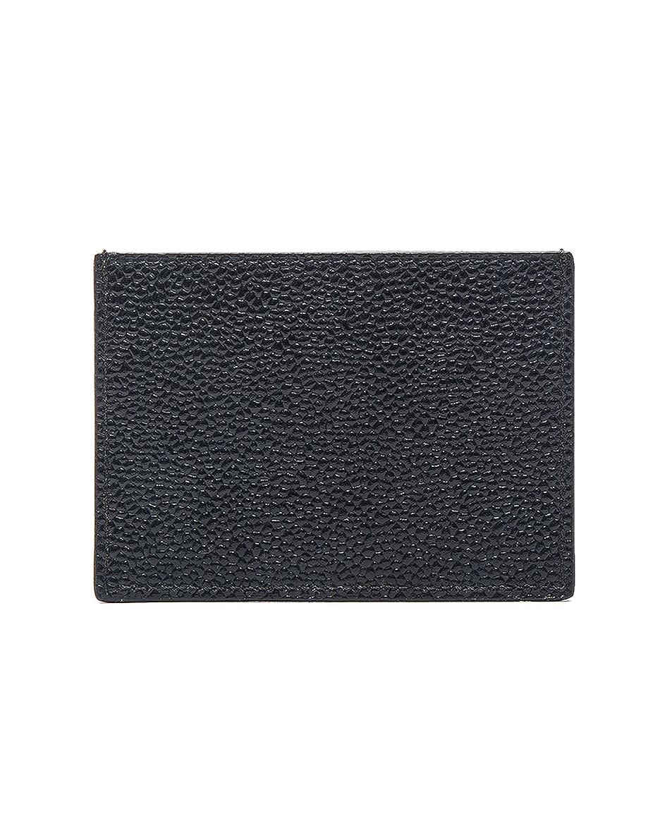 Image 2 of Thom Browne Pebble Grain Single Cardholder in Black