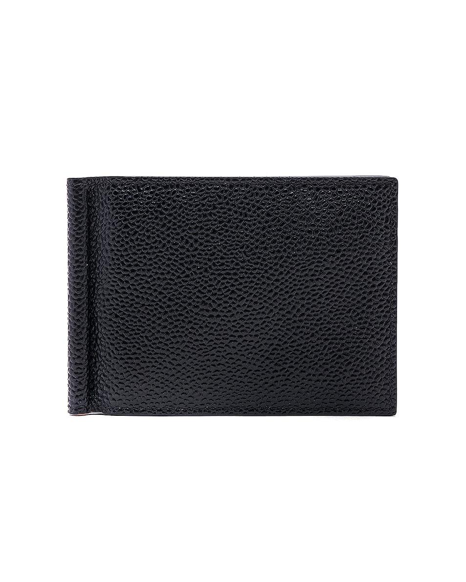 Image 1 of Thom Browne Pebble Grain Money Clip Wallet in Black