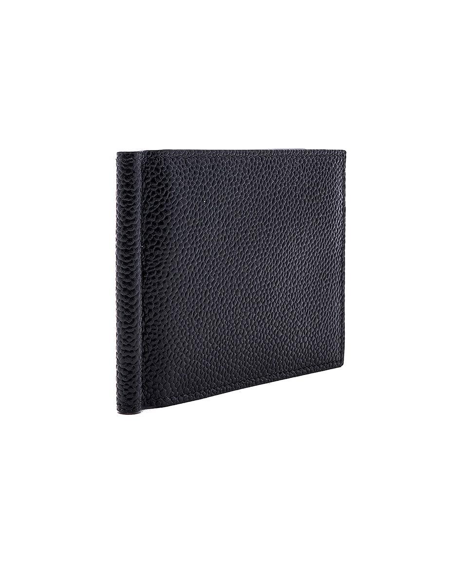 Image 3 of Thom Browne Pebble Grain Money Clip Wallet in Black
