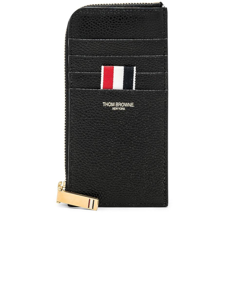 Image 1 of Thom Browne Pebble Grain Half-Zip Wallet in Black