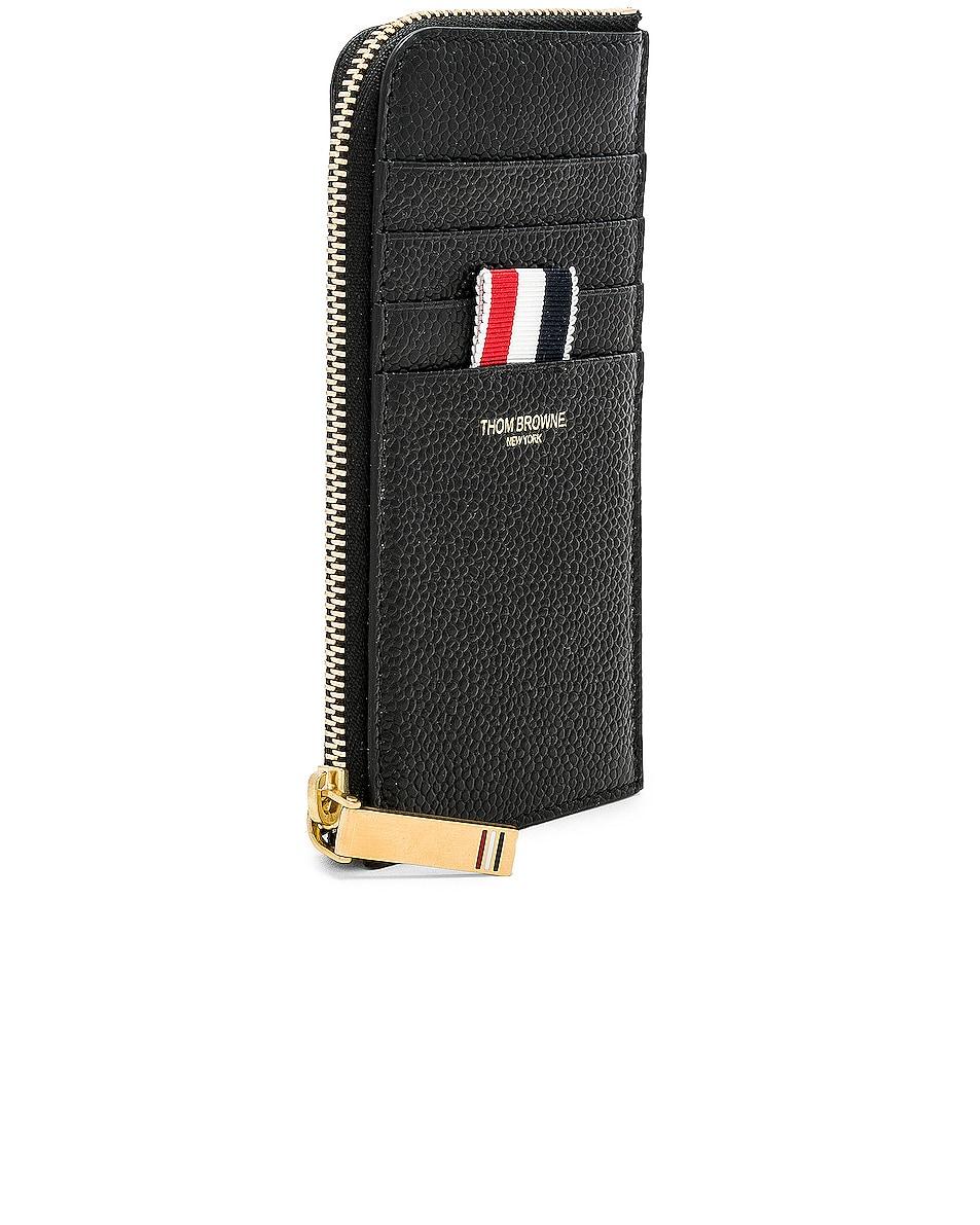 Image 3 of Thom Browne Pebble Grain Half-Zip Wallet in Black