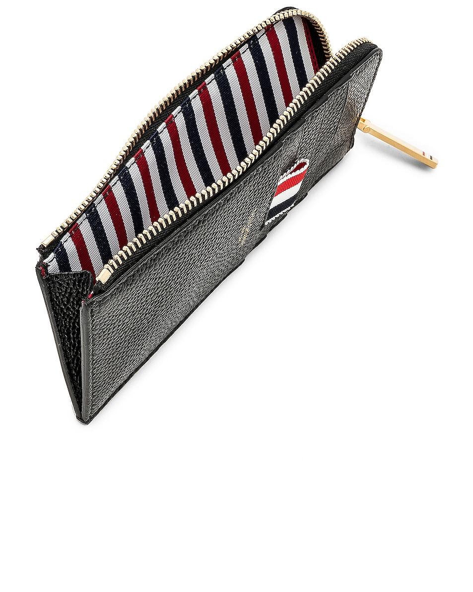 Image 4 of Thom Browne Pebble Grain Half-Zip Wallet in Black