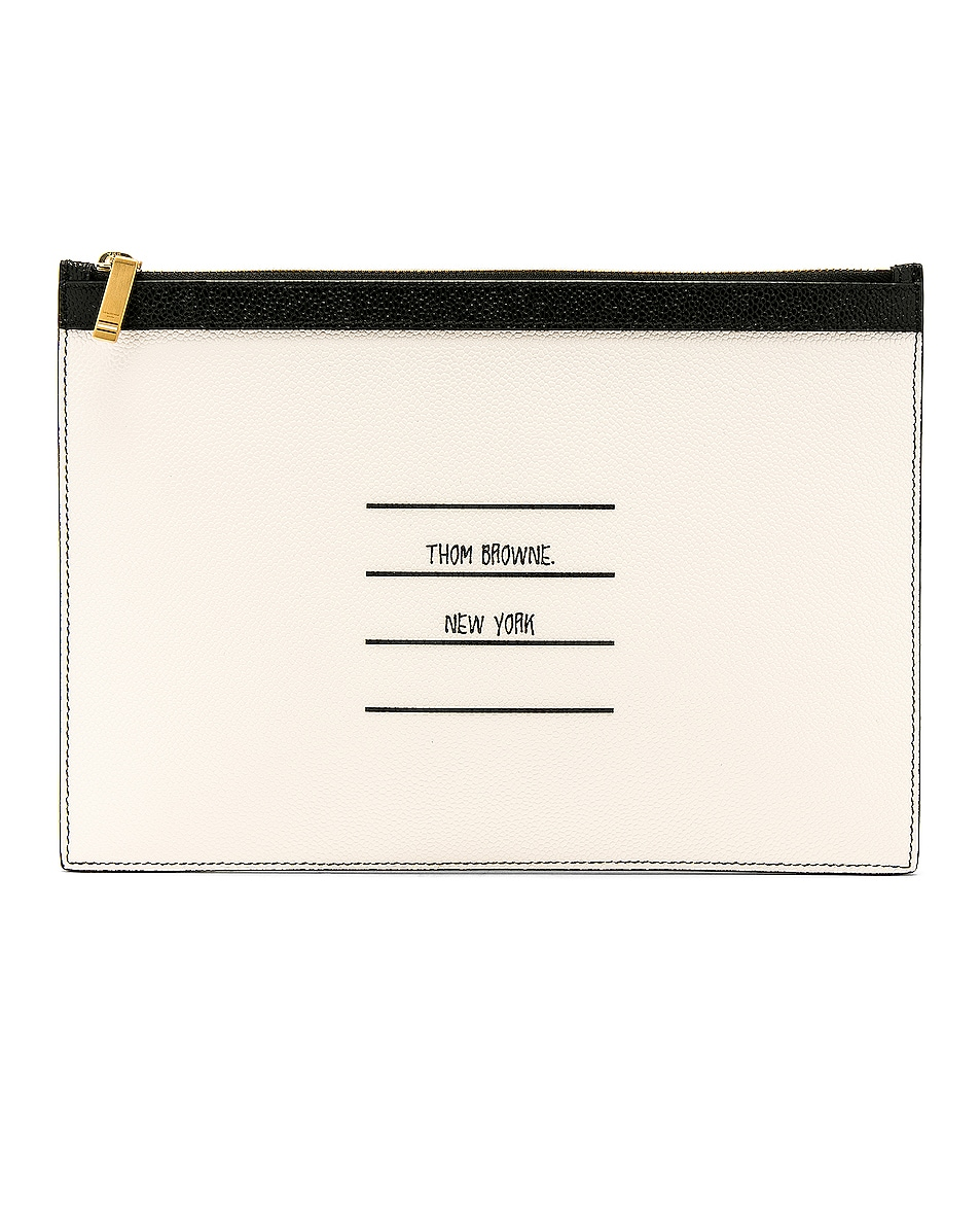 Image 1 of Thom Browne Small Zipper Tablet Pouch in Black