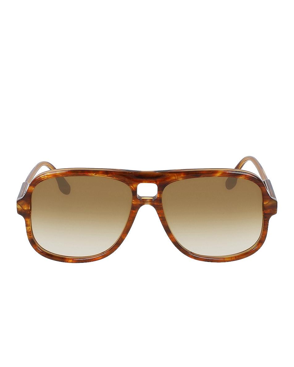 Image 1 of Victoria Beckham Flat Navigator Sunglasses in Caramel Pearl