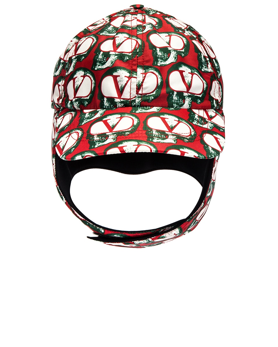 Image 1 of Valentino Aviator Hat in Red & Ivory & Black