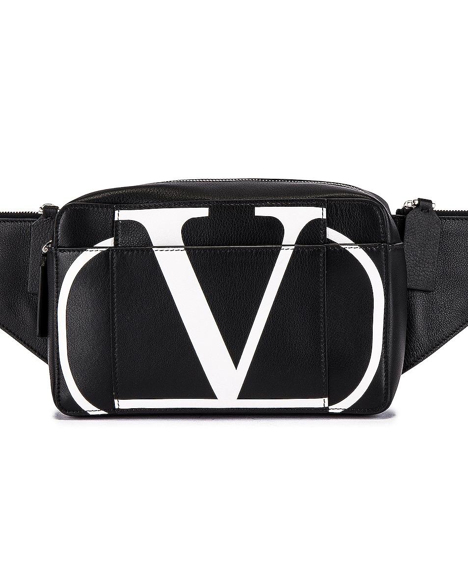Image 1 of Valentino Logo Waist Bag in Black & Optic White